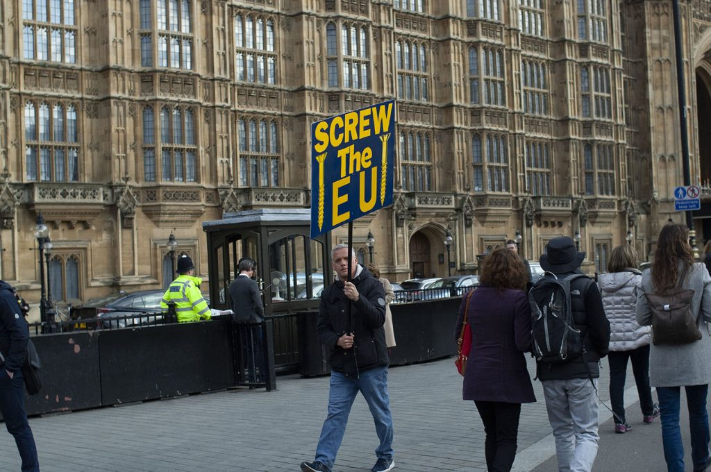 """A man holds up a sign that reads """"Screw the EU."""" Shortly after this picture was taken his sign fell apart and counter-protesters mocked him for not having a """"screw"""" for his sign."""